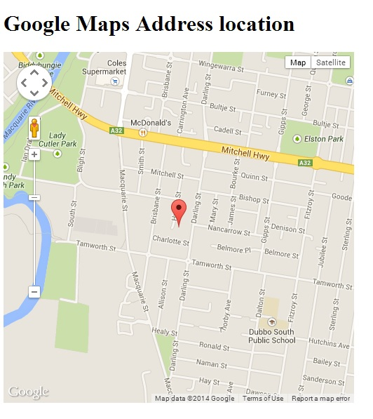 Google map with the address point
