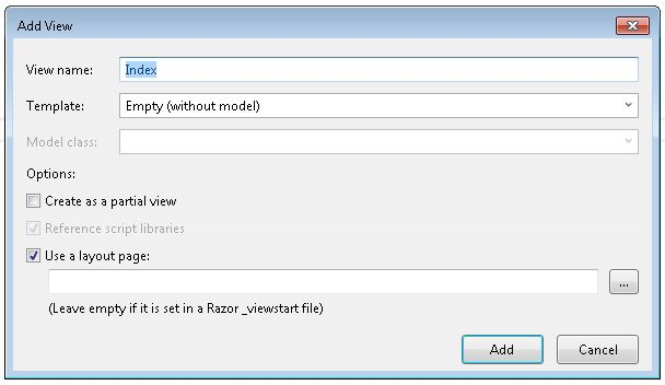 Setting up ASP.NET view settings